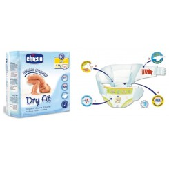 PAÑALES T. 3 DRY FIT CHICCO 4-9 KG