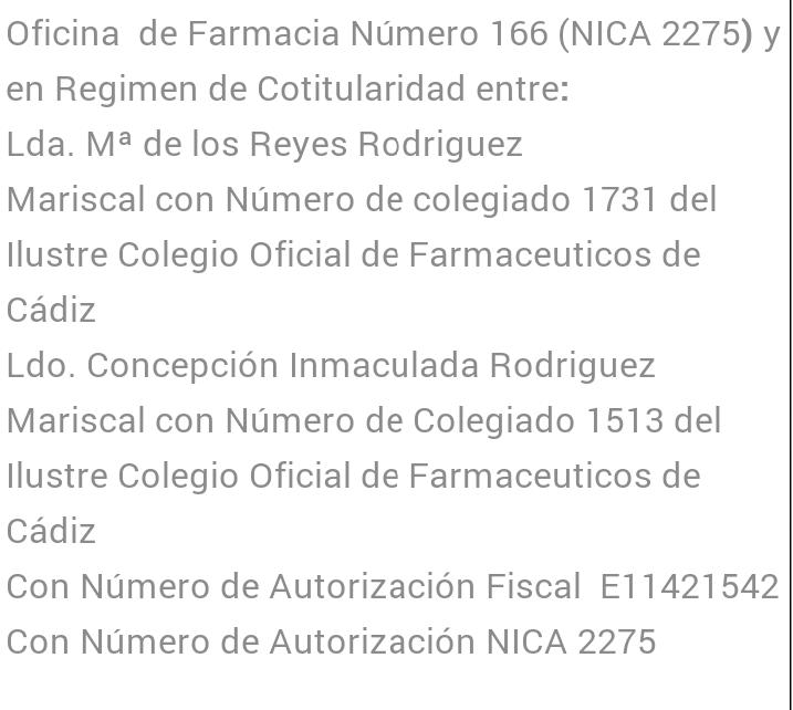 Informacion Farmacia Rodriguez Prada